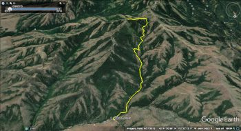 Peak 8037 Route from Walker Creek Canyon. GPS - Margo Mandella.