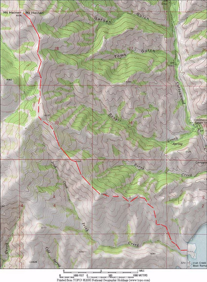 The USGS maps covering the route are Dunnigan Creek, Arrowrock Reservoir NE, Grape Mountain