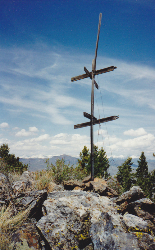 The USGS triangulation signal on Timbered Dome looking north to the Lost River Range. Rick Baugher Photo 5-22-1994