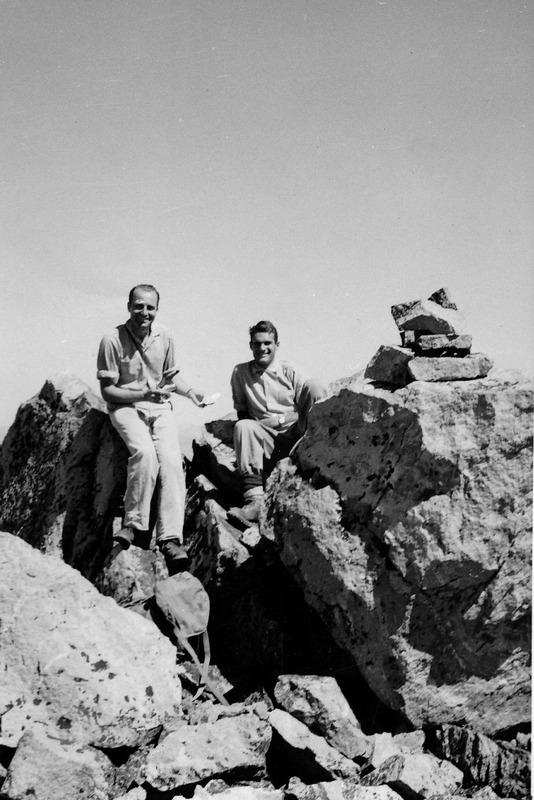 Louis Stur and Freddi Haemisaeger on top of Horstman Peak in 1955. Evilio Echevarria Photo