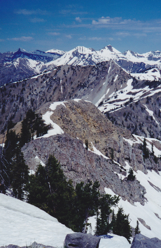 The view looking northwest from Richards Peak to Mountain Baird and Elkhorn Peak. Needles Peak is in the mid-ground. Rick Baugher Photo.
