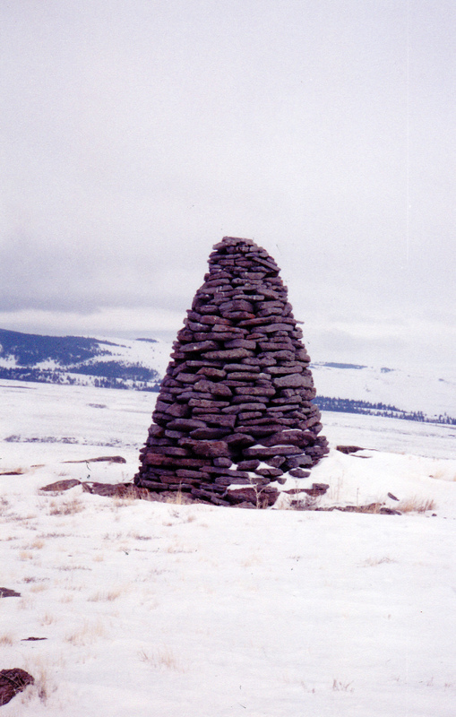 This 9 foot high signal is, perhaps, Idaho's tallest standing cairn. Rick Baugher Photo and Commentary