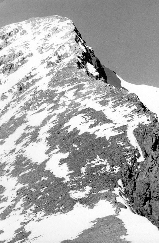 The final climb up Borah viewed from Chicken Out Ridge in 1955. Evilio Echevarria Photo