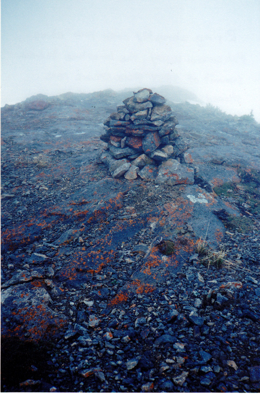The fog shrouded summit on June 1, 1999. Rick Baugher Photo