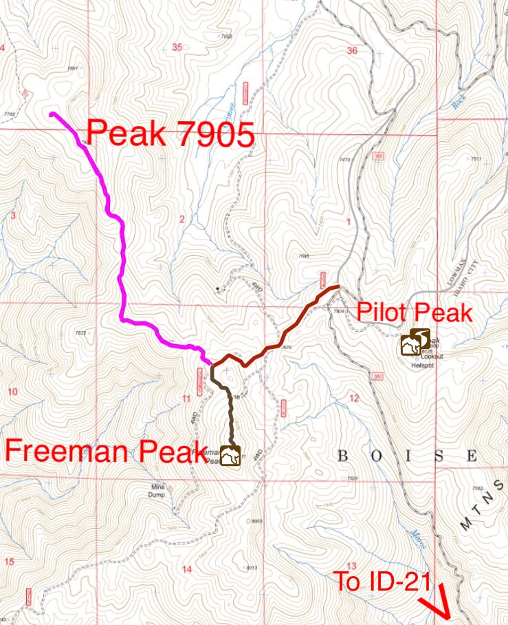 Peak 7905/Freeman Peak access. Note, that the FS and USGS topos do not accurately show all of the roads in this area.