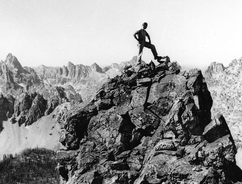 Louis Stur on top of the Sawtooths.