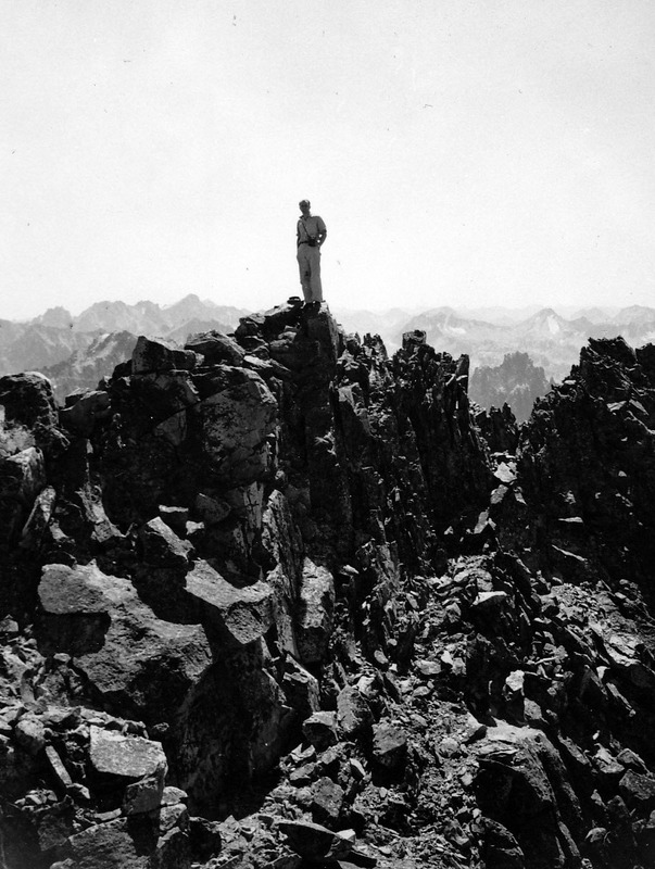 Loius Stur on the summit ridge of what he called Mount Hancher. (Ed. Note: I am not sure which peak this is. The name has not stood the test of time.) Evilio Echevarria Photo