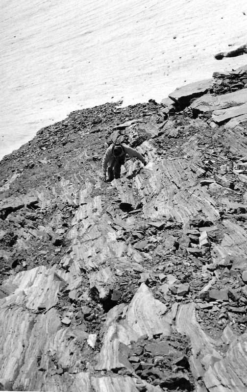 Louis Stur ascending a slope in the Sawtooth Mountains. Evilio Echevarria Photo