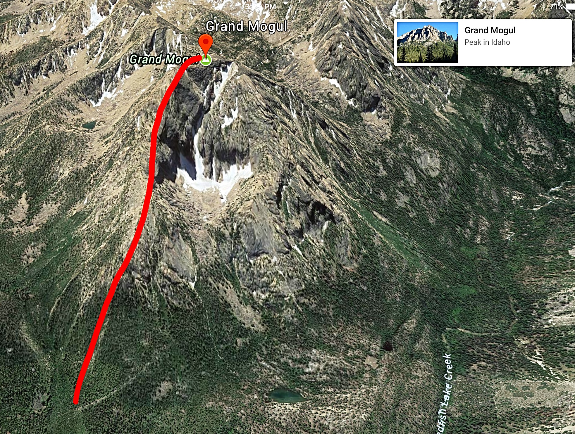A Google Earth image showing the northeast ridge route.