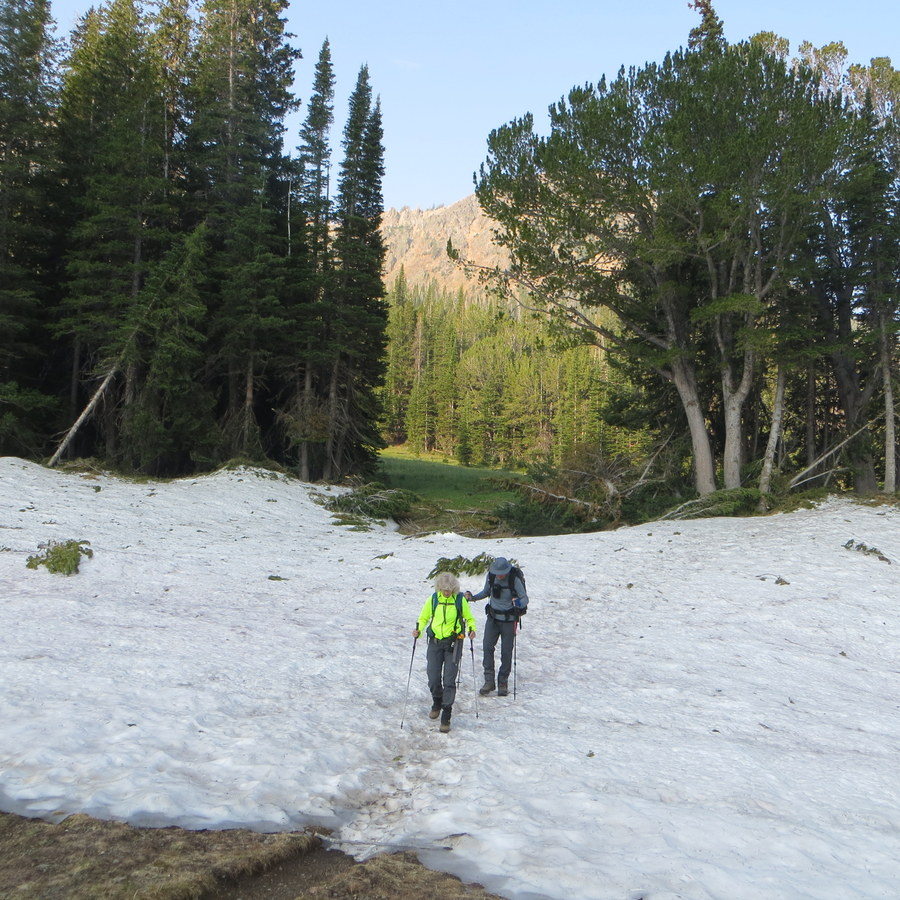 An August snow patch across the trail. Steve Mandella photo.