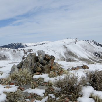 Summit cairn, Peak 8383. Steve Mandella photo.