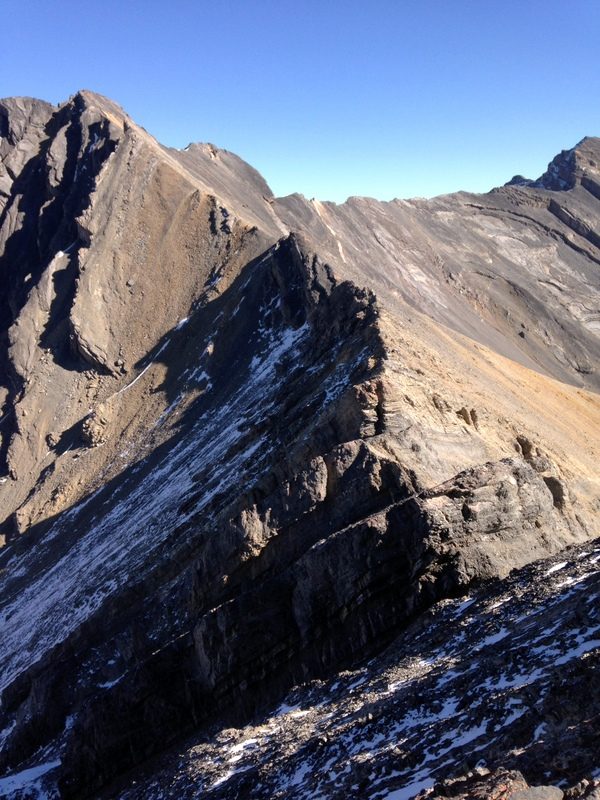 This photo shows the second half of the ridge traverse from Donaldson Peak to No Regret Peak.