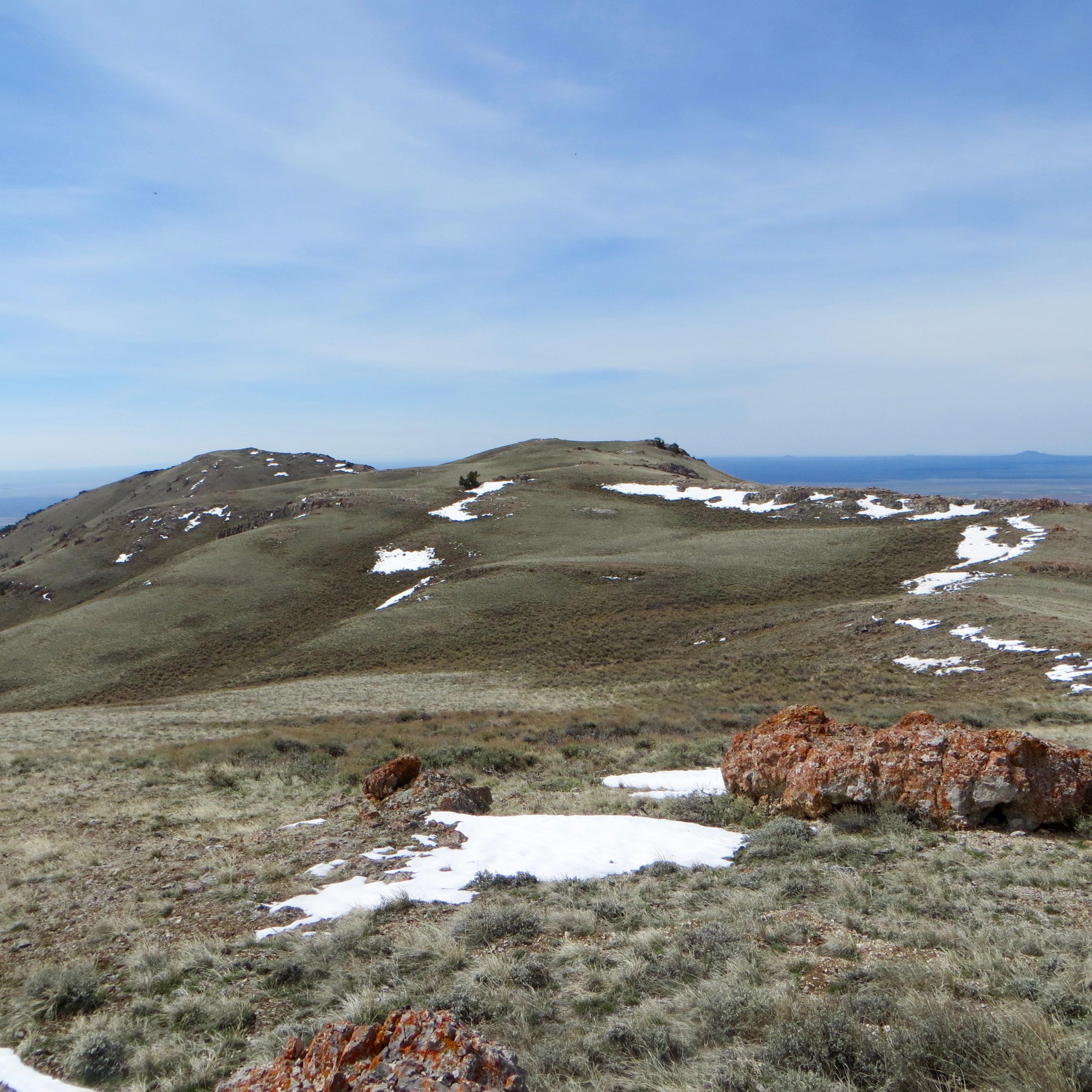 On the summit ridge, looking at the summit of Peak 8082. Steve Mandella photo.