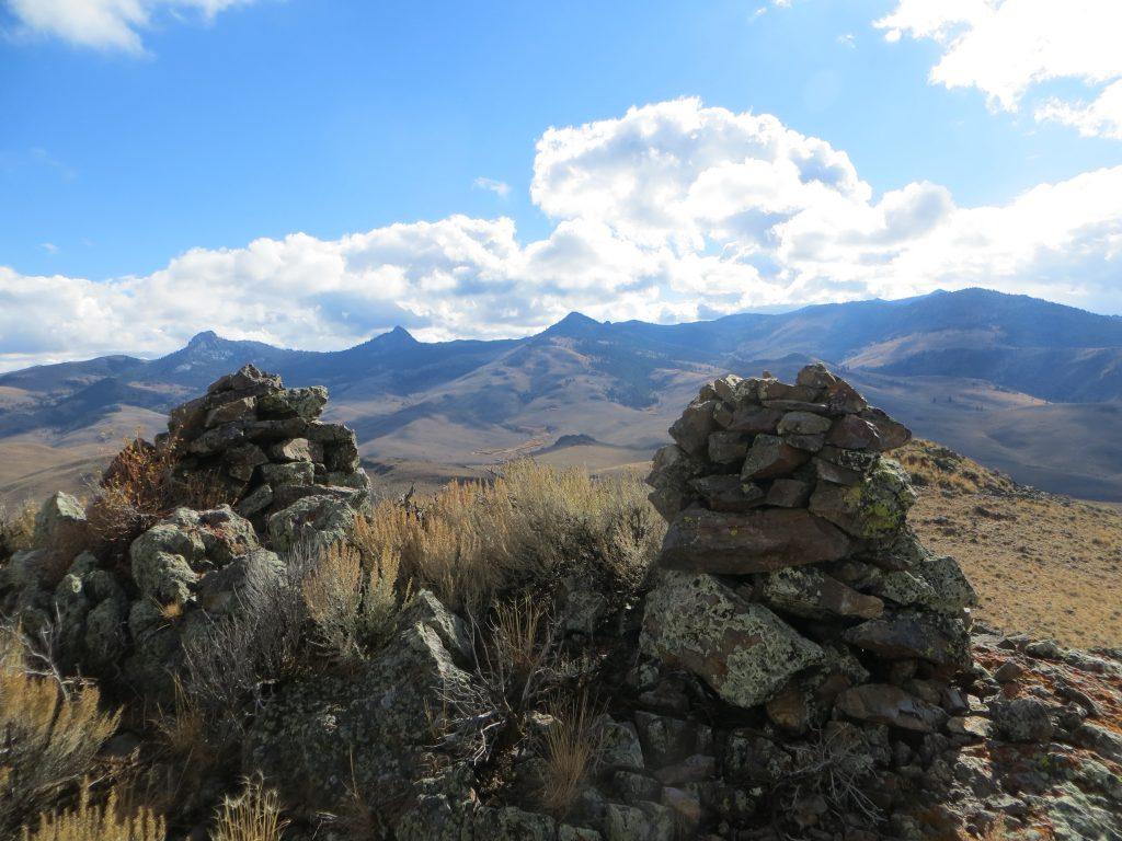 Summit cairns, Peak 7724. Photo - Steve Mandella.