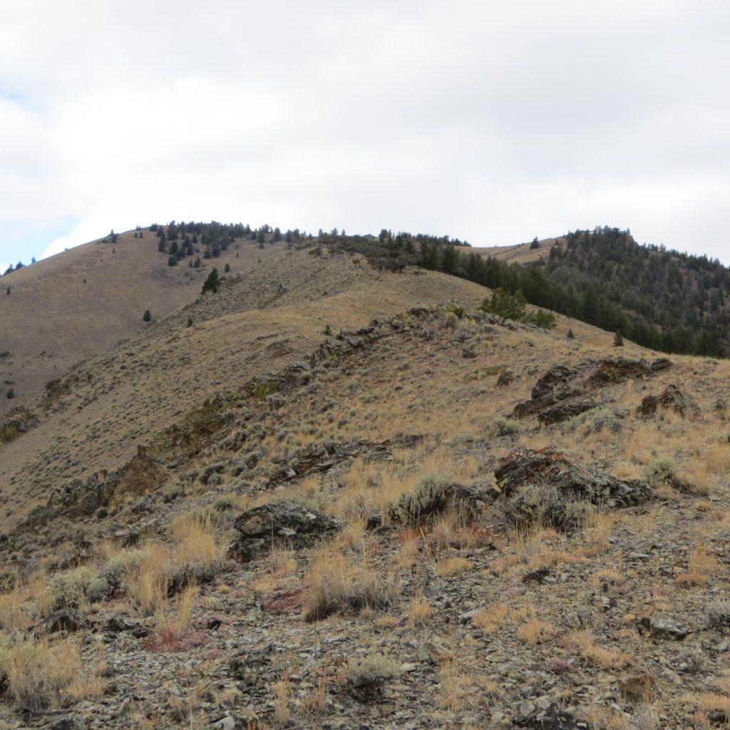 The meandering east ridge approach. Photo Steve Mandella