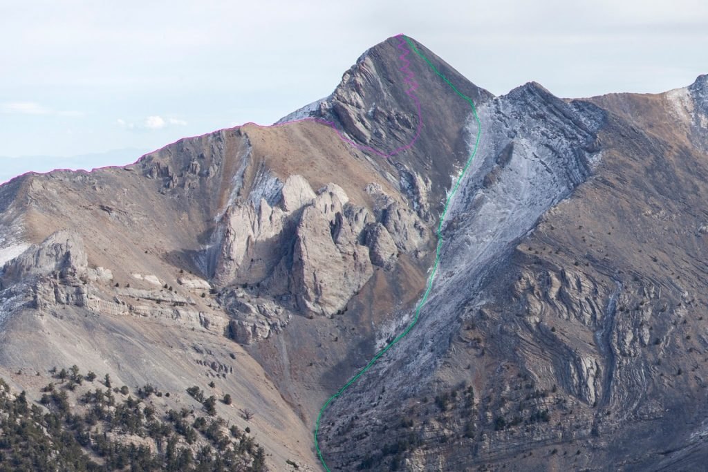 Ascent in magenta. Descent in green Image was taken from the ridge between Goved Peak and Shrill Peak, October, 2015. Larry Prescott Photo