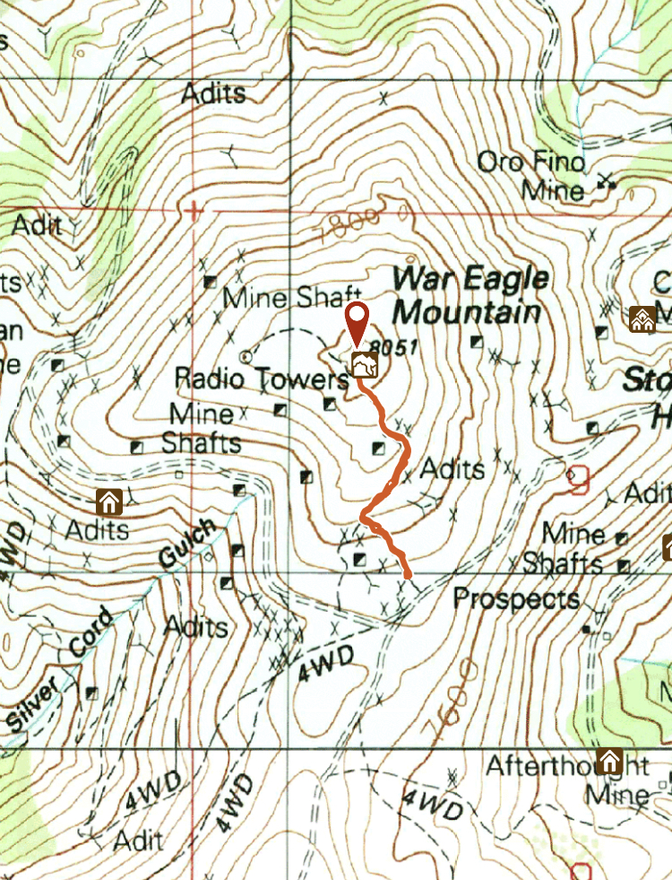 Track of climb to the top of War Eagle Mountain show on a topo map.