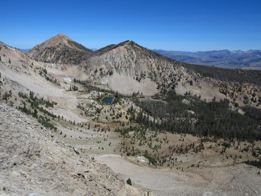 South ridge of MacDonald Peak and Pt. 9,974 from near Pt. 9,889.