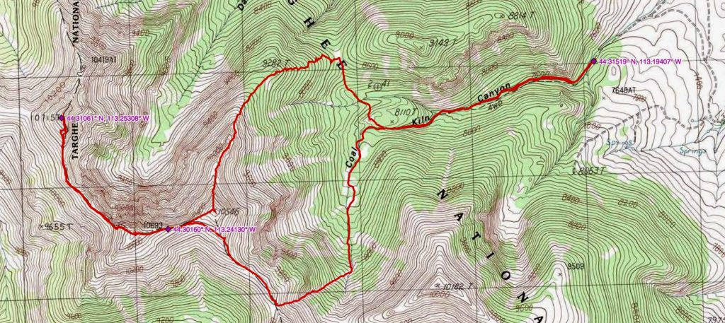 John Platt's GPS track for Mounts Prescott and Inspiration.