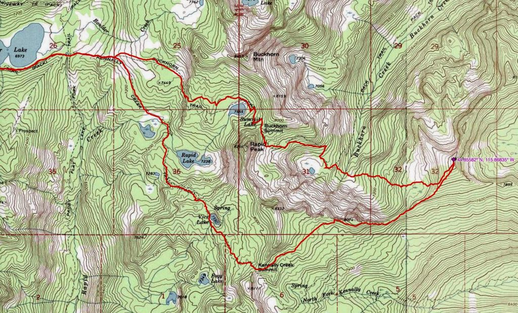 John Platt's GPS track. The hike starts at the Boulder Lake Trailhead which is well off the left side of this map.