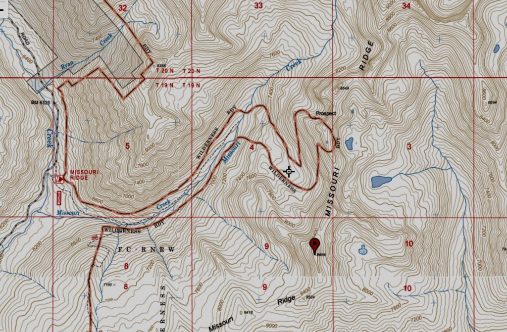 The Forest Service no longer shows the trail from the creek bottom to the ridge as a maintained trail. However, the boundary for the Frank Church River of No Return Wilderness excludes the trail corridor from the wilderness. Thus, this map gives you a good idea of where the trail runs.