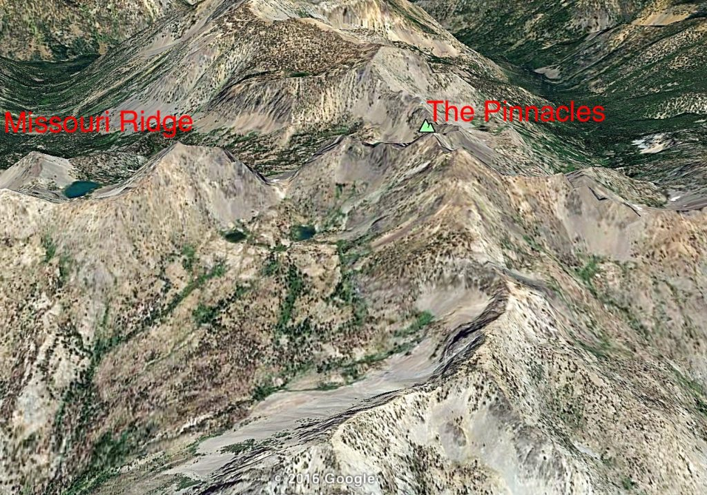 Missouri Ridge Is on the left and The Pinnacles on the right in this Google Earth image. The old trail ascends to the intervening saddle from Missouri creek which is the drainage behind Missouri Ridge.