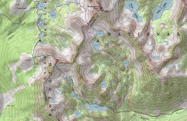 A portion of Dave's map showing his travel route over Alpine Creek Peak. Dave Pahlas Photo
