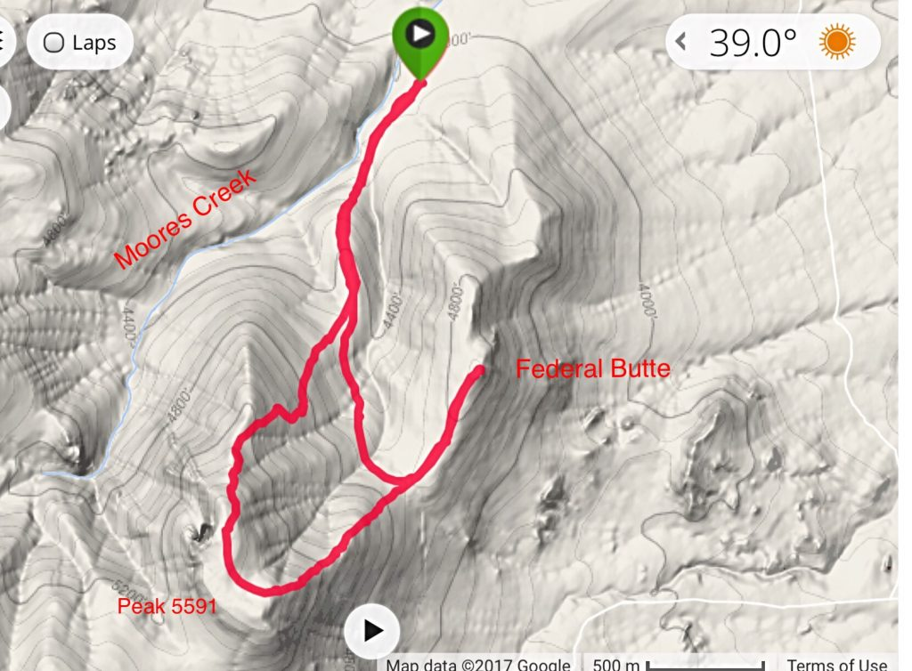 My GPS track for the ascent of Federal Butte and Peak 5591.