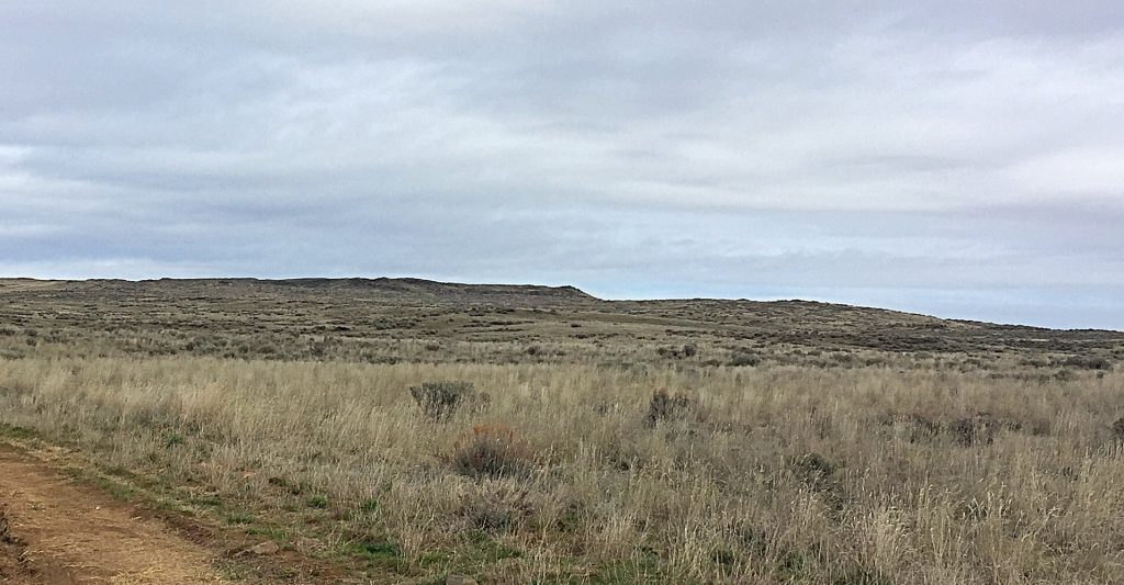 """The Snake River Plain is a massive area where perspective is often difficult to comprehend. When you are on top of Wildhorse Butte you realize you are significantly """"up in the air"""" but when you look at the butte from a distance it only appears as a slight rise."""