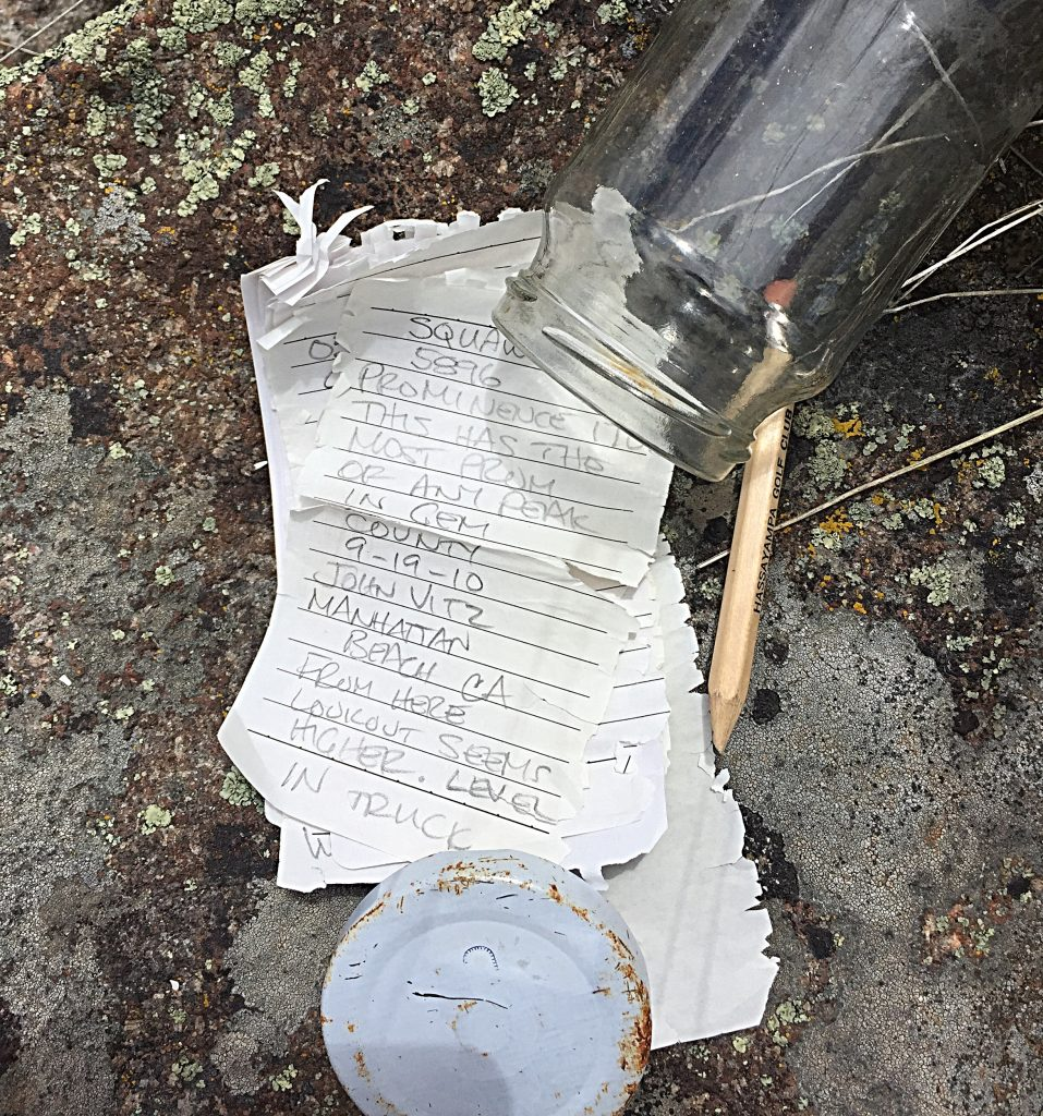 The summit register I found on Squaw Butte May of 2017.