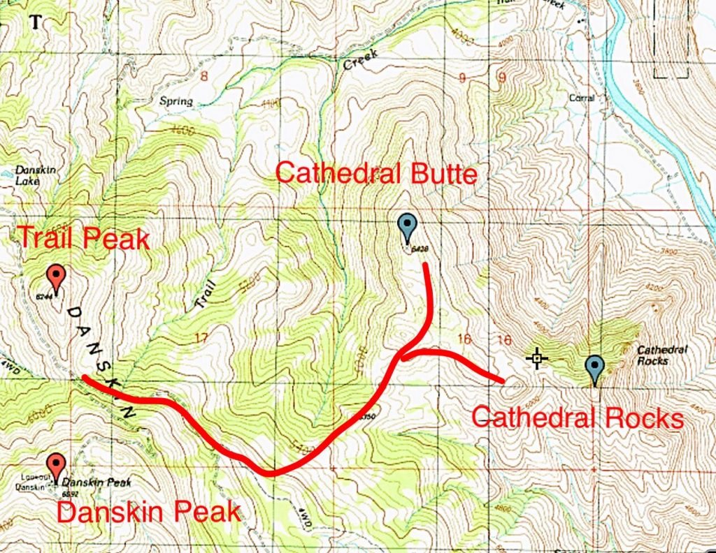 Route from the Danskin Peak Road to Cathedral Rocks.