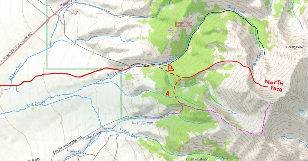 The (A) route is the Mike Howard Traverse and (B) is a long cleaner approach up Rock Creek.