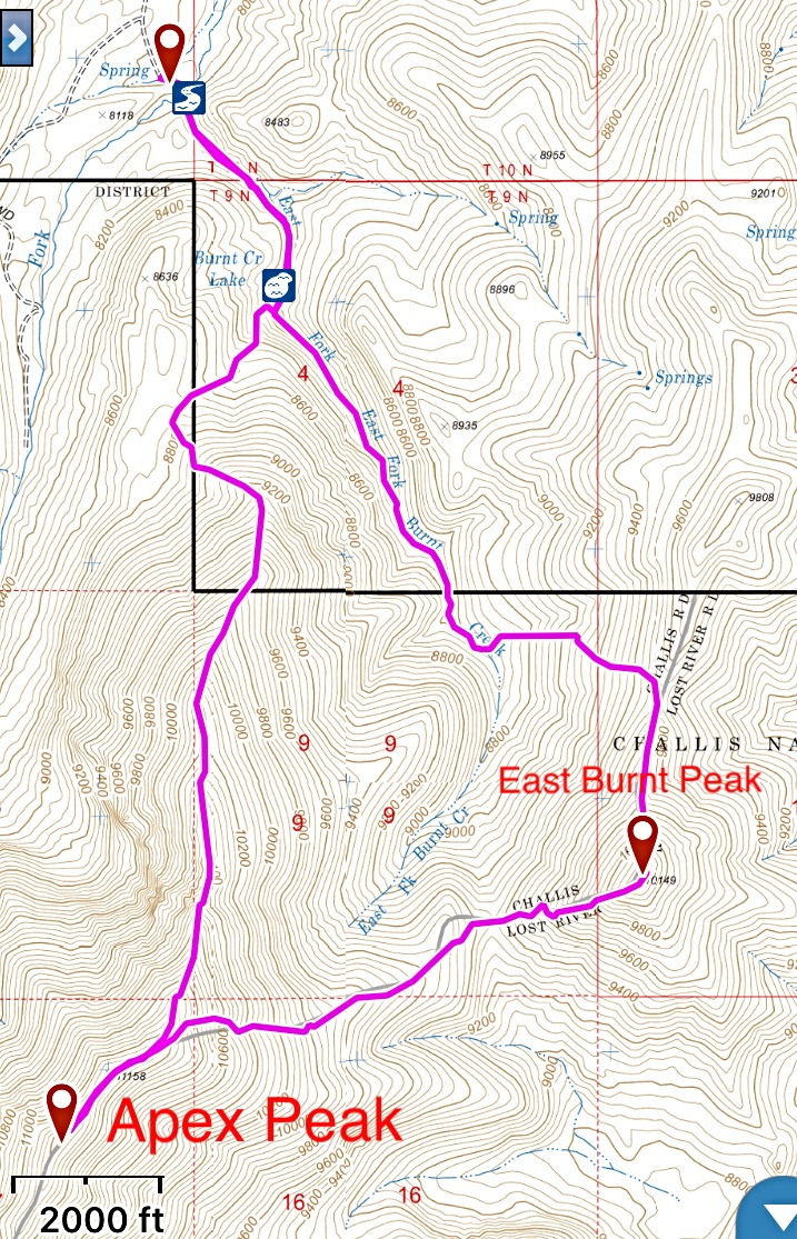 This is my GPS track for Apex Peak and East Burnt Peak. The route off of Apex is a Class 2 walk down steep, loose talus.