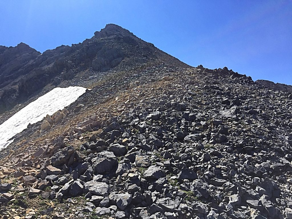 Above 11,000 feet the ridge climbs steeply to Point 11715.