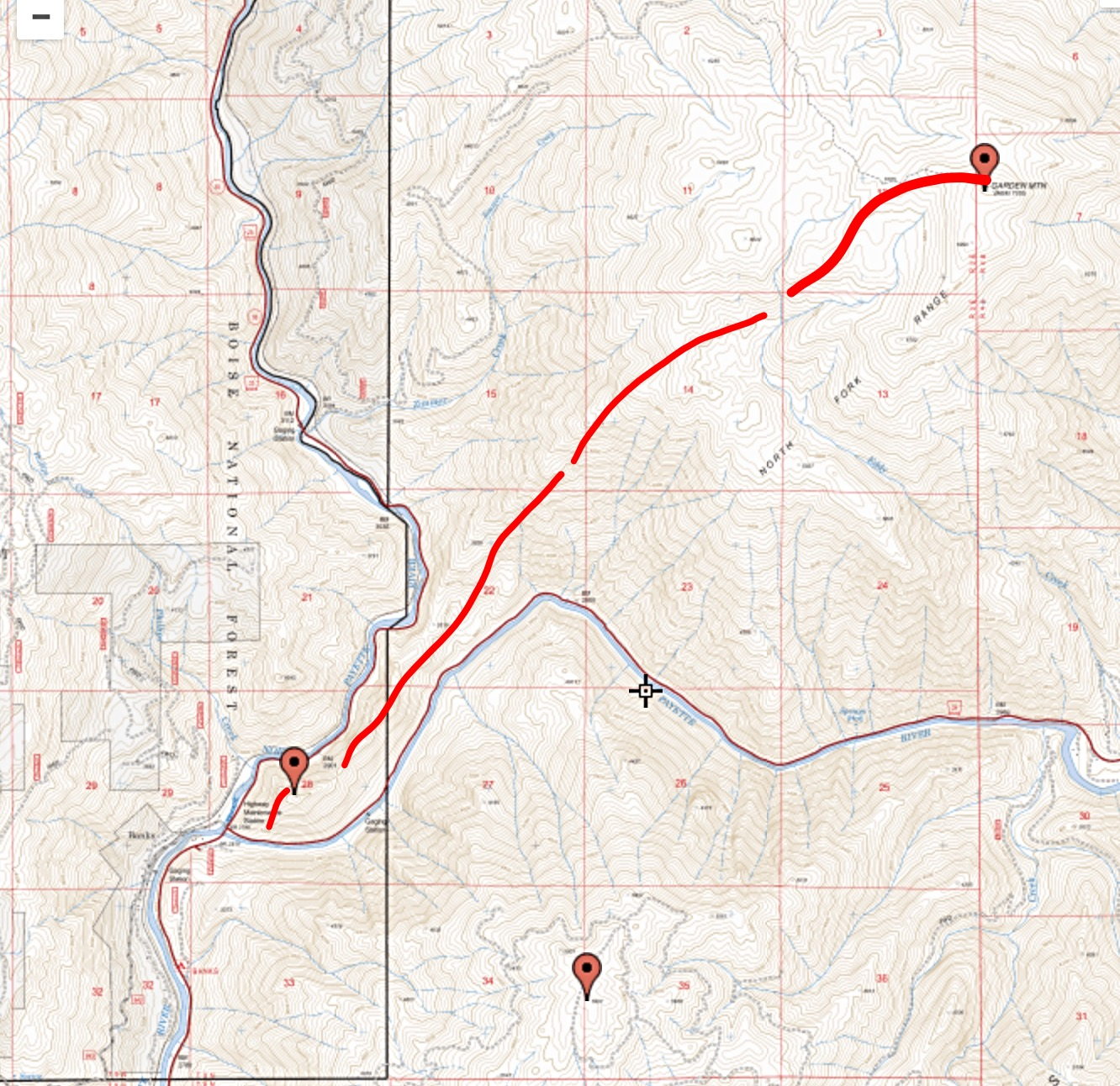 The approximate route of our snowshoe trip to the summit in 2009.