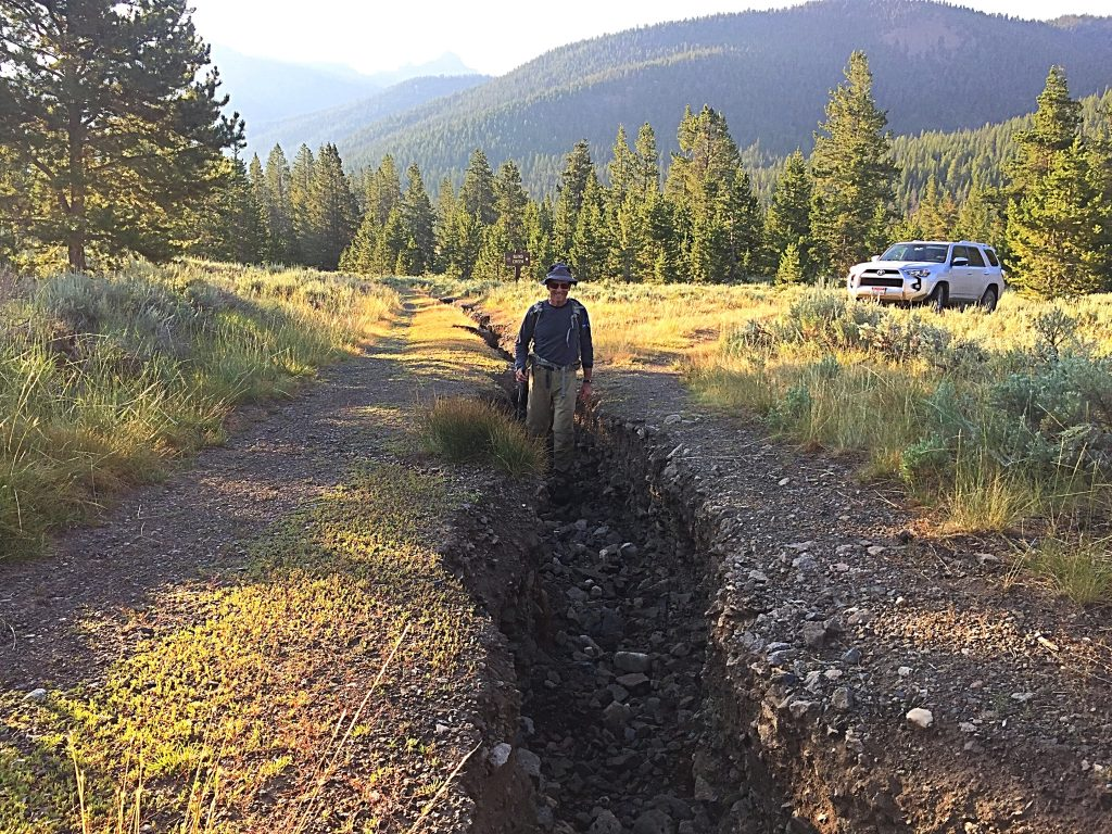 Hunter Creek Road was deeply eroded in July of 2017.