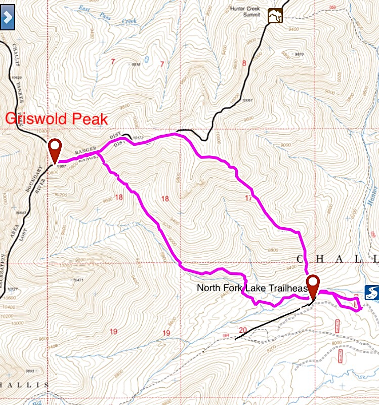 My GPS track for the Southeast Ridge Route and descent.