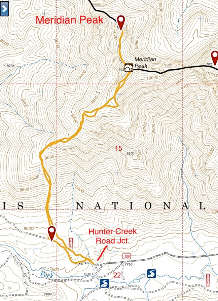 My GPS track to Meridian's summit and back.