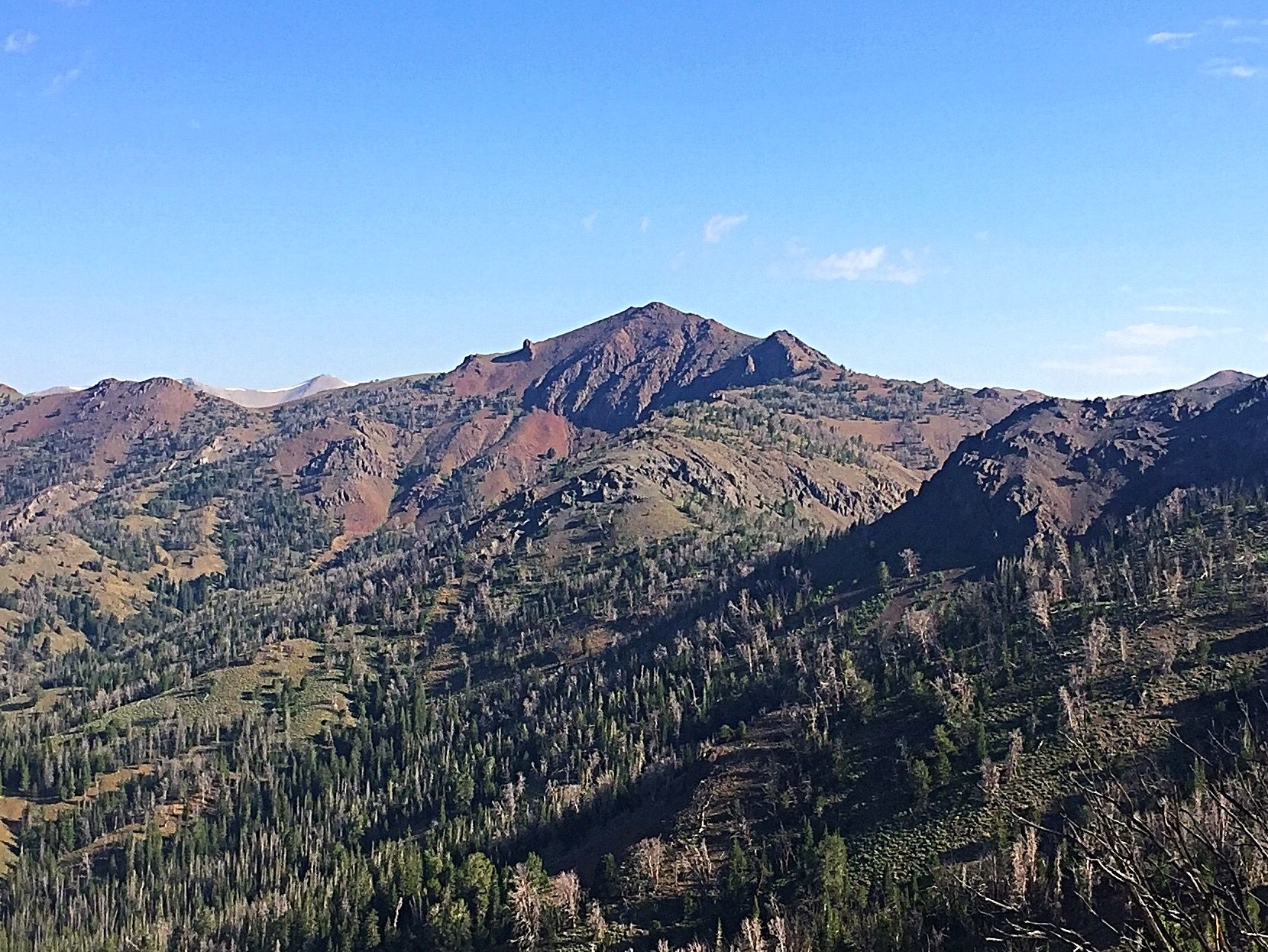 Peak 10522 viewed from near the summit of Meridian Peak.