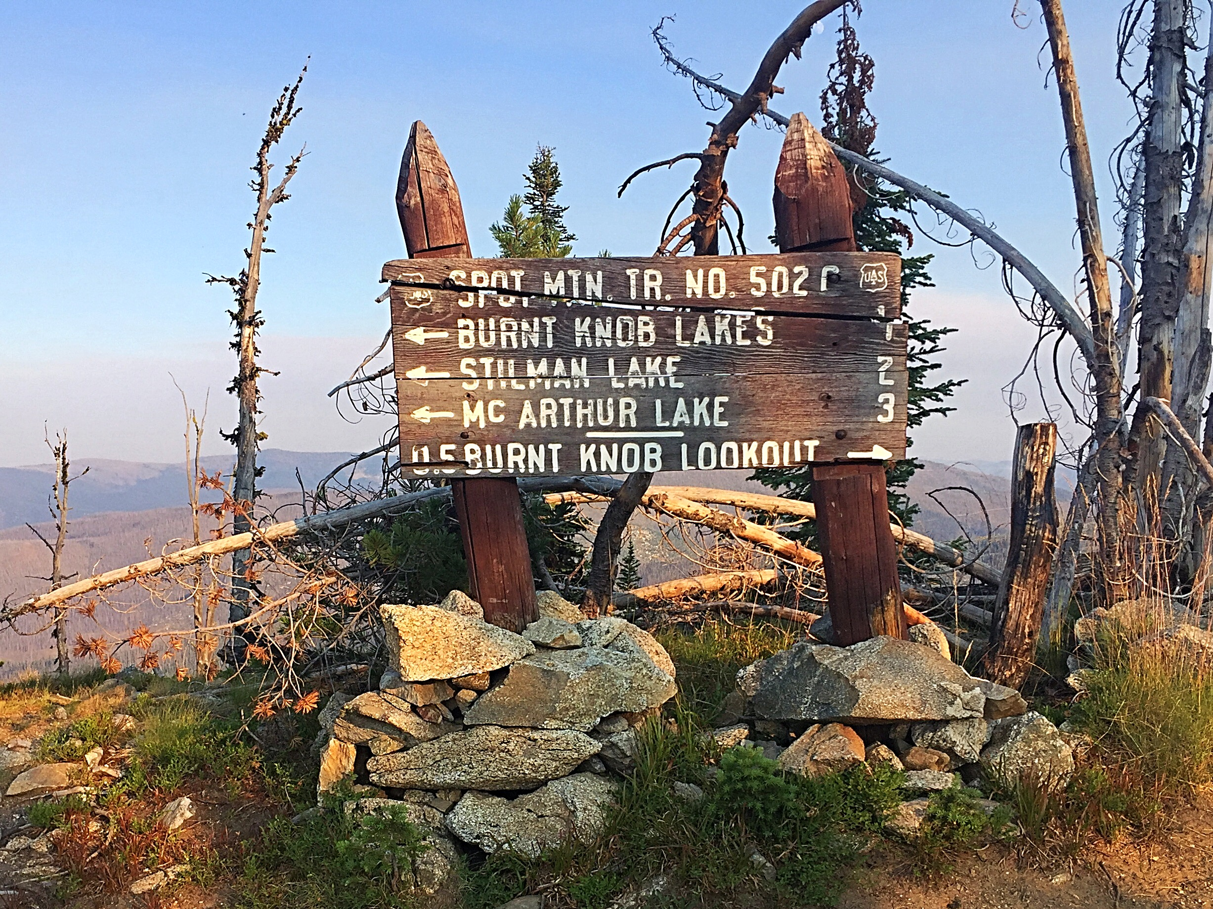 The sign at the trailhead. Note that despite what the sign says there were no side trails to the lakes.