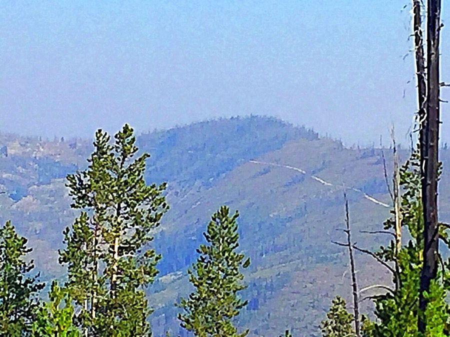 Dry Saddle Peak from the east on a smoky day.