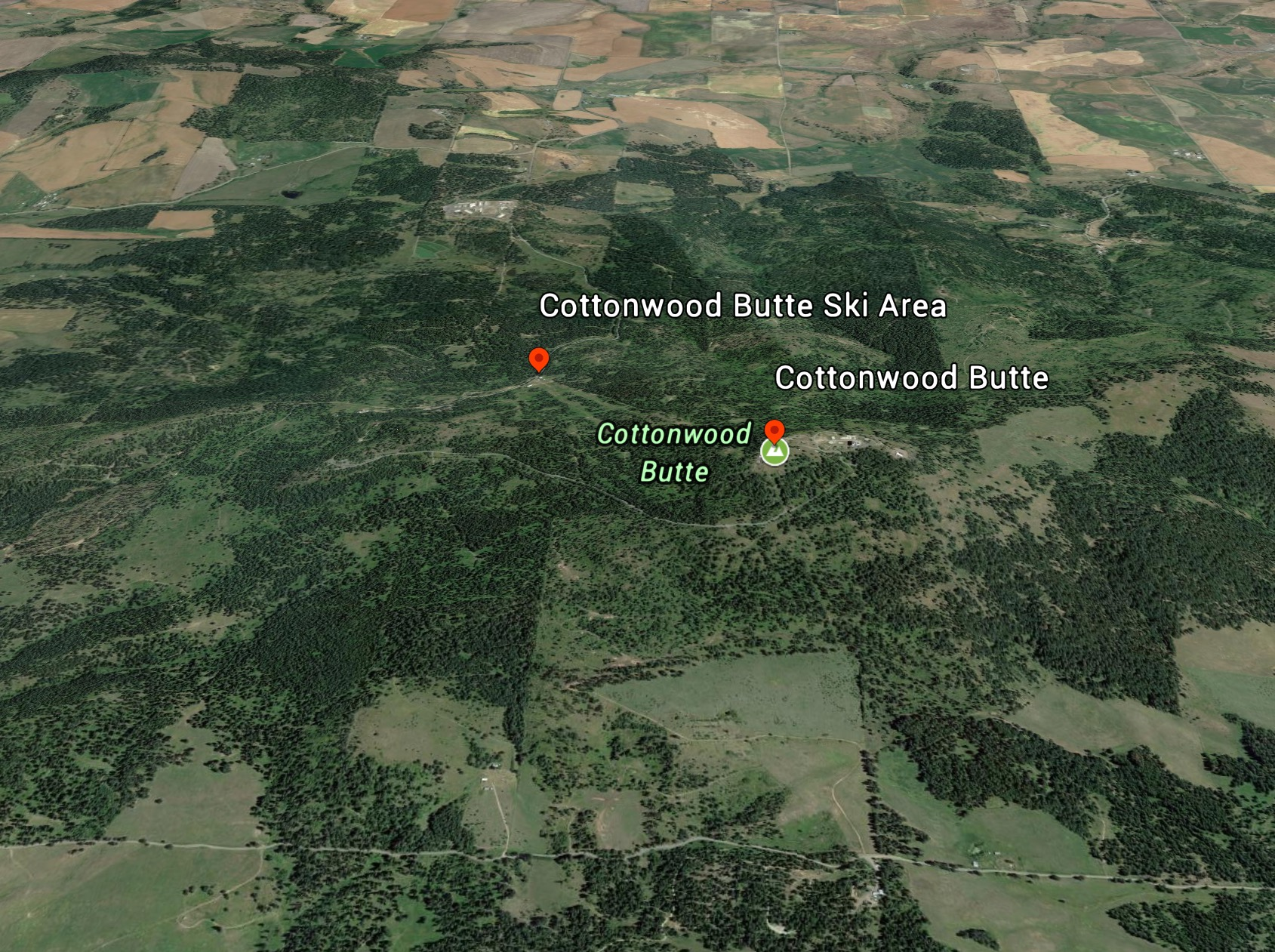 A Google Earth image of Cottonwood Butte.