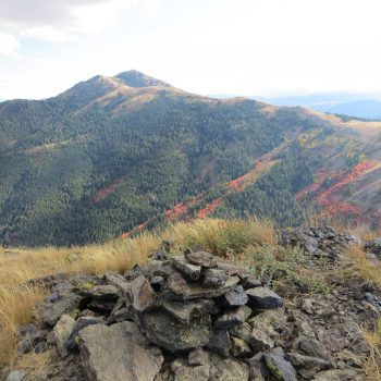 Fall colors and Old Tom from the summit of Peak 8037. Steve Mandella photo