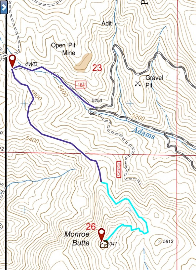 My GPS track for Monroe Butte. The black line is the road approach from FS-025 and the blue line is the hiking route.