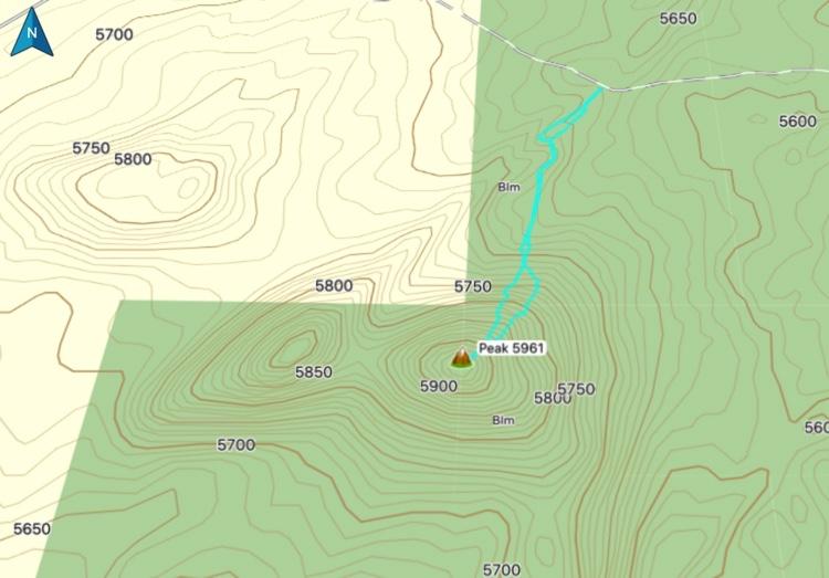 Northeast route to Peak 5961. Steve Mandella track.