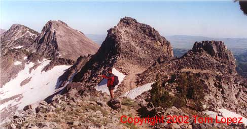 On the peak's ragged east ridge.
