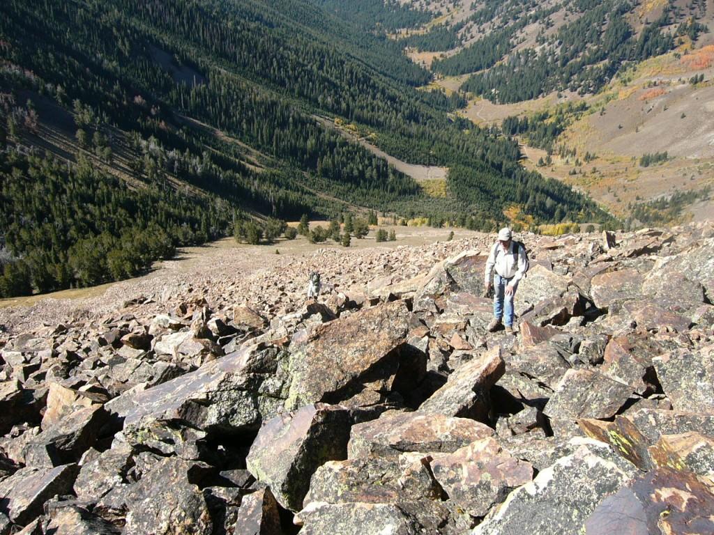 Climbing the lower ridge from PK Pass.