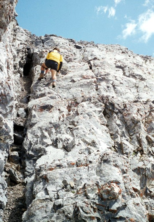 This is the 60 foot chimney / face pitch which is the crux of East Italian Peak.