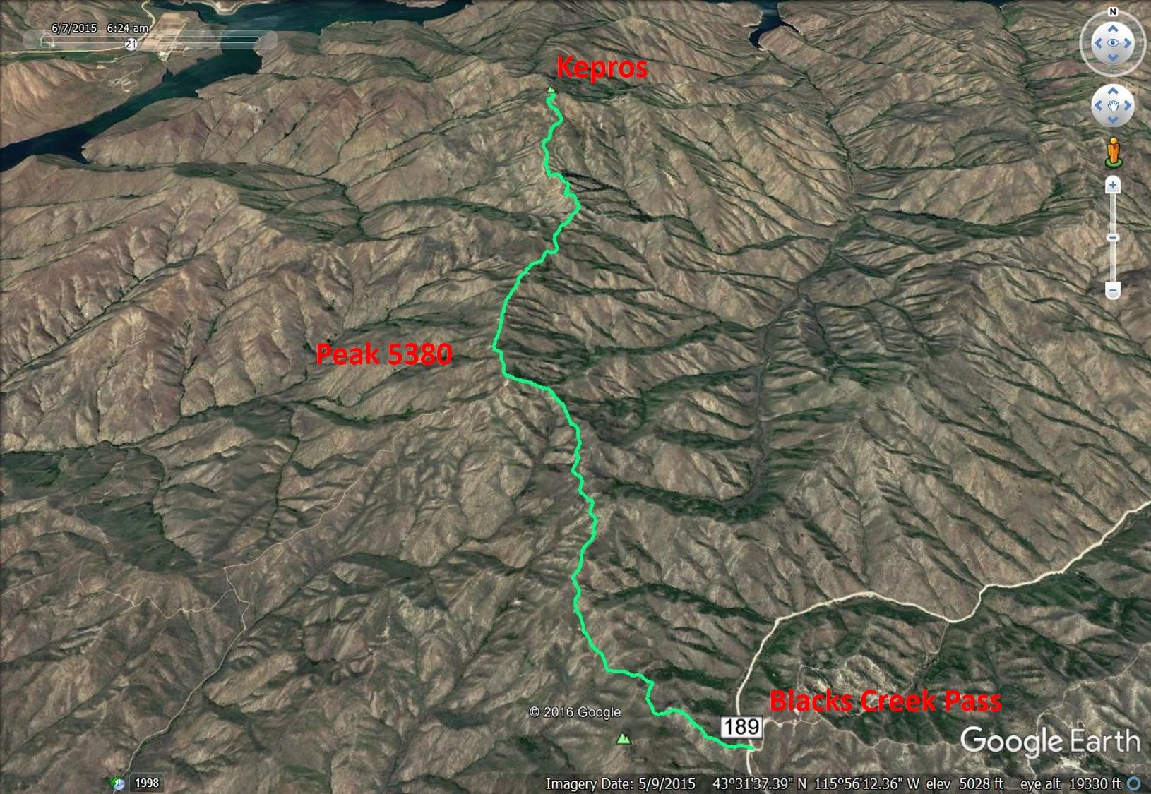 Kepros Mountain climbing route.