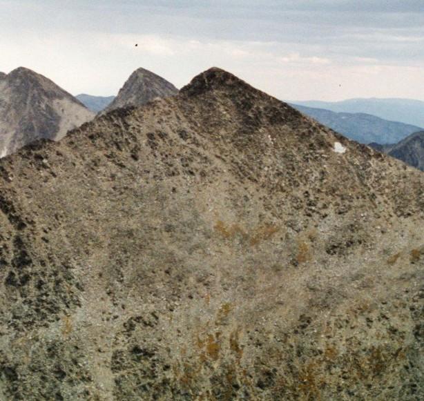 The Beaverhead Crest looking south from Freeman Peak. The first peak is Mounument Peak.
